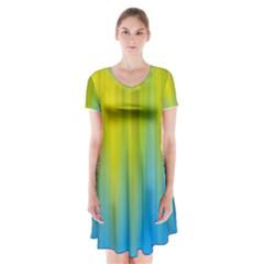 Yellow Blue Green Short Sleeve V-neck Flare Dress