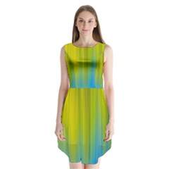 Yellow Blue Green Sleeveless Chiffon Dress