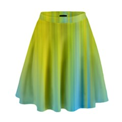 Yellow Blue Green High Waist Skirt