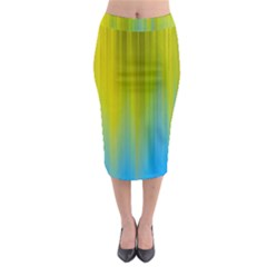 Yellow Blue Green Midi Pencil Skirt
