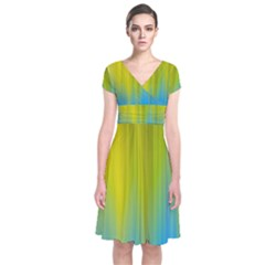 Yellow Blue Green Short Sleeve Front Wrap Dress
