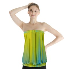 Yellow Blue Green Strapless Top