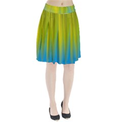 Yellow Blue Green Pleated Skirt