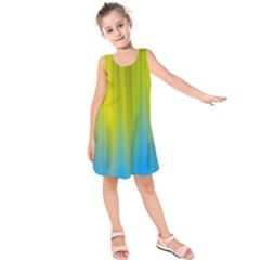 Yellow Blue Green Kids  Sleeveless Dress