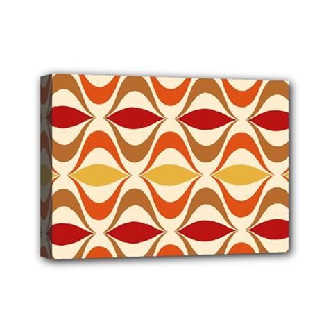 Wave Orange Red Yellow Rainbow Mini Canvas 7  x 5