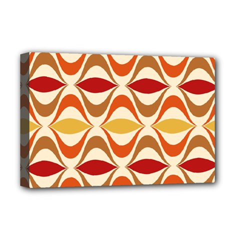 Wave Orange Red Yellow Rainbow Deluxe Canvas 18  x 12