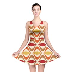 Wave Orange Red Yellow Rainbow Reversible Skater Dress