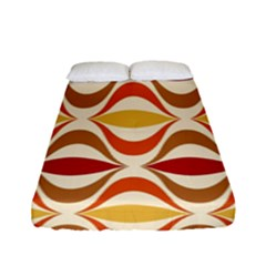 Wave Orange Red Yellow Rainbow Fitted Sheet (Full/ Double Size)