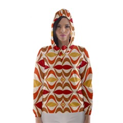 Wave Orange Red Yellow Rainbow Hooded Wind Breaker (Women)