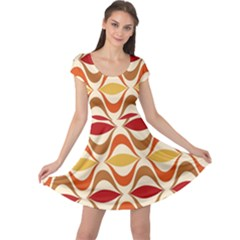 Wave Orange Red Yellow Rainbow Cap Sleeve Dresses