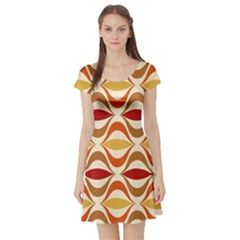 Wave Orange Red Yellow Rainbow Short Sleeve Skater Dress