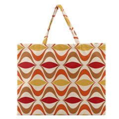 Wave Orange Red Yellow Rainbow Zipper Large Tote Bag
