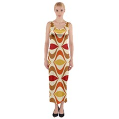 Wave Orange Red Yellow Rainbow Fitted Maxi Dress