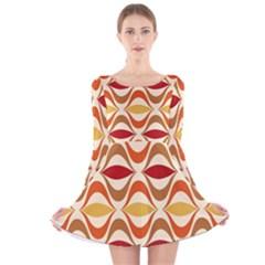 Wave Orange Red Yellow Rainbow Long Sleeve Velvet Skater Dress