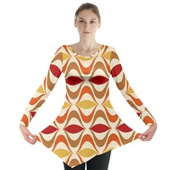Wave Orange Red Yellow Rainbow Long Sleeve Tunic