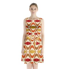 Wave Orange Red Yellow Rainbow Sleeveless Chiffon Waist Tie Dress