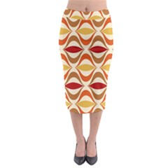Wave Orange Red Yellow Rainbow Midi Pencil Skirt