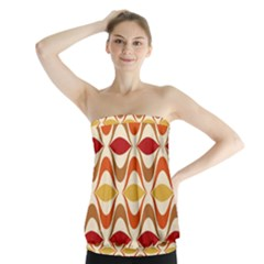 Wave Orange Red Yellow Rainbow Strapless Top