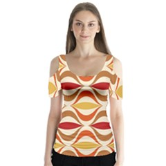 Wave Orange Red Yellow Rainbow Butterfly Sleeve Cutout Tee