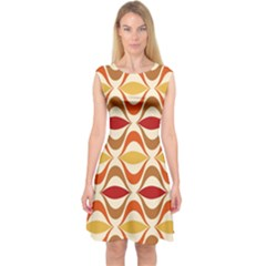 Wave Orange Red Yellow Rainbow Capsleeve Midi Dress