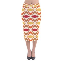 Wave Orange Red Yellow Rainbow Velvet Midi Pencil Skirt
