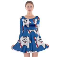 Tooth Long Sleeve Skater Dress