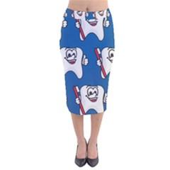 Tooth Velvet Midi Pencil Skirt