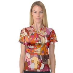Abstract Abstraction Pattern Modern Women s V-Neck Sport Mesh Tee