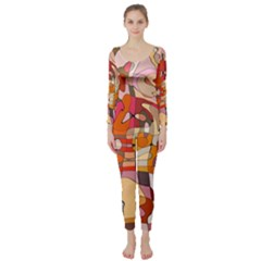 Abstract Abstraction Pattern Modern Long Sleeve Catsuit