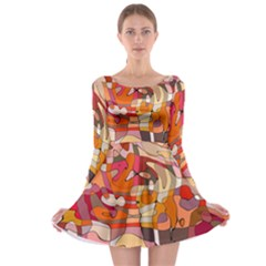 Abstract Abstraction Pattern Modern Long Sleeve Skater Dress