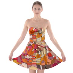 Abstract Abstraction Pattern Modern Strapless Bra Top Dress