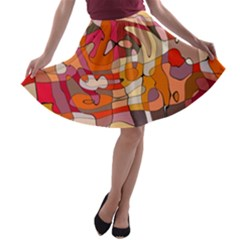 Abstract Abstraction Pattern Modern A-line Skater Skirt