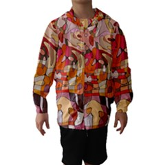 Abstract Abstraction Pattern Modern Hooded Wind Breaker (Kids)
