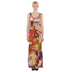 Abstract Abstraction Pattern Modern Maxi Thigh Split Dress