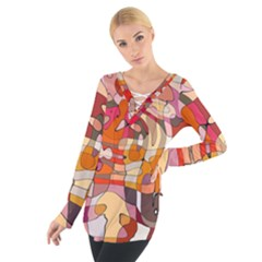 Abstract Abstraction Pattern Modern Women s Tie Up Tee