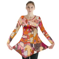 Abstract Abstraction Pattern Modern Long Sleeve Tunic