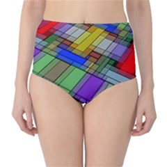 Abstract Background Pattern High-Waist Bikini Bottoms