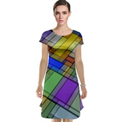 Abstract Background Pattern Cap Sleeve Nightdress