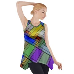 Abstract Background Pattern Side Drop Tank Tunic