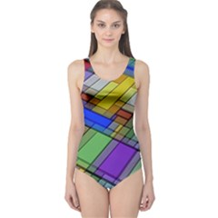 Abstract Background Pattern One Piece Swimsuit