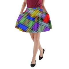 Abstract Background Pattern A-Line Pocket Skirt