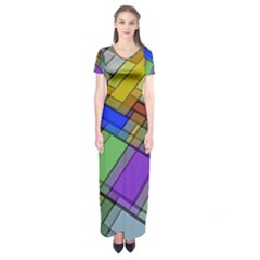 Abstract Background Pattern Short Sleeve Maxi Dress