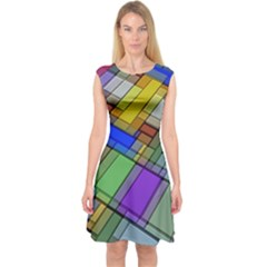 Abstract Background Pattern Capsleeve Midi Dress
