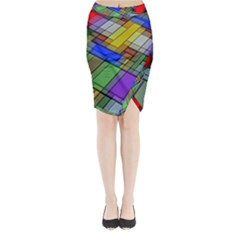 Abstract Background Pattern Midi Wrap Pencil Skirt