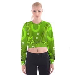 Art About Ball Abstract Colorful Women s Cropped Sweatshirt