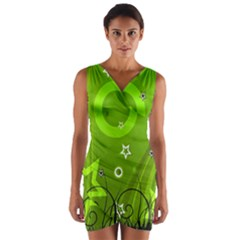 Art About Ball Abstract Colorful Wrap Front Bodycon Dress