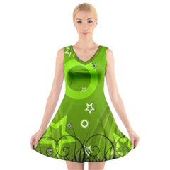 Art About Ball Abstract Colorful V-Neck Sleeveless Skater Dress