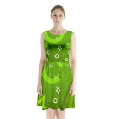 Art About Ball Abstract Colorful Sleeveless Chiffon Waist Tie Dress