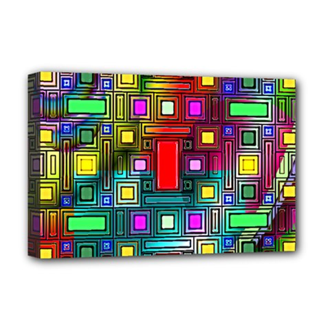 Art Rectangles Abstract Modern Art Deluxe Canvas 18  x 12