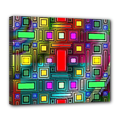 Art Rectangles Abstract Modern Art Deluxe Canvas 24  x 20